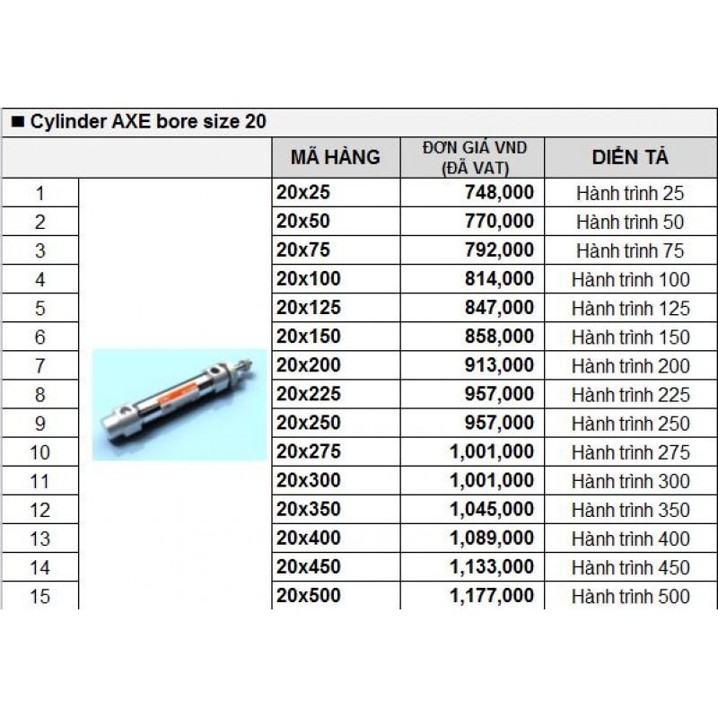 Xy lanh khí TPC AXE bore size 20