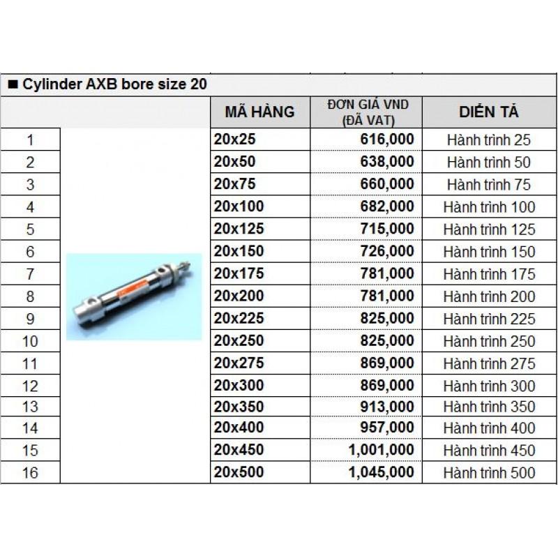 Xy lanh khí TPC AXB bore size 20
