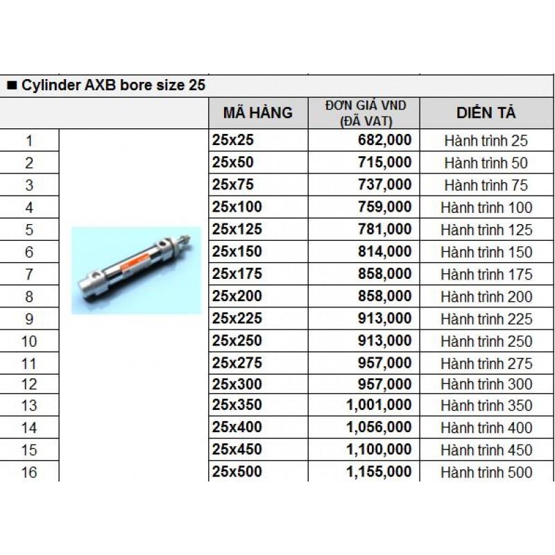 Xy lanh khí TPC AXB bore size 25