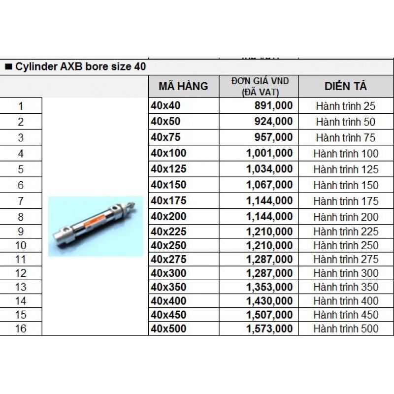 Xy lanh khí TPC AXB bore size 40